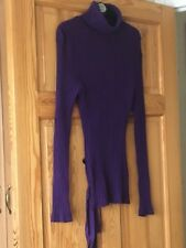 Gossip Ladies Purple Striped Long Sleeved Polo Neck Top Size Large