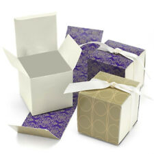 New Hbh Gold, Purple and Cream Reversible Favor Boxes 25 pc.