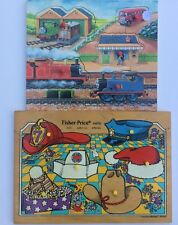 Fisher Price Wood Puzzle Pair Rare 6 Hats 2721 Ages 1-3 Thomas the Train 5-piece