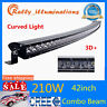 """42"""" 210w Curved LED Light Bar Truck Off road Slim Light Combo Single Row 4WD 3D+"""