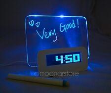 Blue LED Luminous Fluorescent Message Board Digital Alarm Clock Night light +Pen