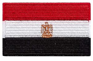 Egypt Flag Small Iron On / Sew On Patch Badge 6 x 3.5cm Egyptian AIRSOFT