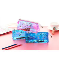 Sparkling Floating Stars PVC Plastic See Through Pencil Cases Cute Make Up Bags