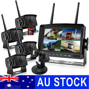 "Digital Wireless 7"" Qaud Monitor DVR 1080P 4 Sony CCD Reversing Camera For Truck"