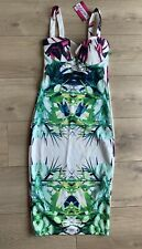 Glamourush Floral Bodycon Fitted Pencil Dress Size 10 New