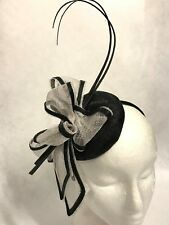 White with Black Trim,Small Fascinator Hat,Headband,Races,Weddings,Formals