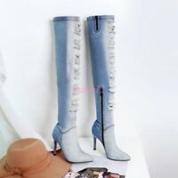 AU Womens Shoes Blue Over Knee Boots Stilettos High Heel Pointed Toe Denim Sexy