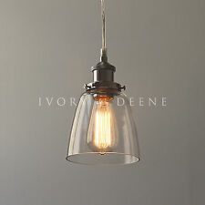 LUCY Glass Pendant Industrial Filament Light Chrome Fittings Hanging Canopy NEW
