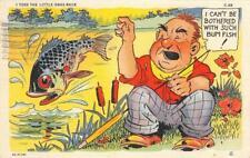 "RAY WALTERS ""Bum Fish"" 1946 Fish Comics C-89 Fishing Vintage Linen Postcard"