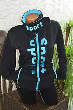Jacke Freizeit Sweat Sport Fleece Bündchen Stehkragen gefüttert schwarz blau 40