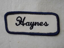HAYNES USED EMBROIDERED  SEW ON NAME PATCH TAG DARK BLUE W BLACK ON WHITE