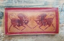 Rustic Burgundy Red Tan Embossed Leather Bulls Wallet Clutch Purse Gold Trim