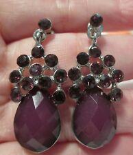 Faux #AMETHYST Earrings Pierced dangle drop purple gemstone silvertone #jewelry