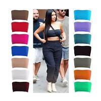Women Ladies Plain Boob Tube Strapless Bandeau Stretch Crop Top Elastic Vest Bra