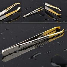 Eyelash Extension Slant Tip Hair Removal Eyebrow Tweezers Clip Stainless Steel