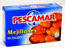 Lot de 5 boites de moules en escabèche de marque Pescamar