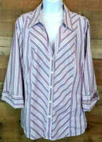 Style & Co. Blouse Button Up V-Neck Purple Stripe 3/4 Sleeve Career Top Size 22W