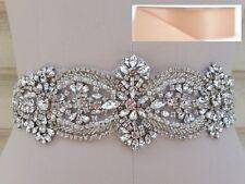 Wedding Belt - Crystal Wedding Sash Belt = in BLUSH satin sash