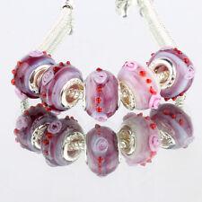 3D purple 5pcs MURANO glass bead LAMPWORK fit European Charm Bracelet