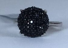 Size 6 Black Spinel Sterling Silver Ring Gorgeous Sparkle!