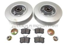 RENAULT FLUENCE REAR 2 BRAKE DISCS PADS FITTED WHEEL BEARINGS ABS RINGS