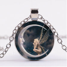 NEW Cabochon Glass necklace Silver/Bronze/Black pendant(Fairy on the moon
