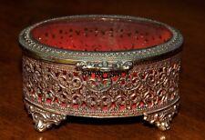 Vintage Japanese Trinket Jewelry Brass Box - With Glass Top
