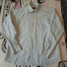 "Size L 40-42"" Brice Fitted Pale Blue French Linen Cotton Blend Shirt Long Sleeve"