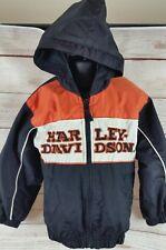 Harley Davidson Toddler Boys Jacket Coat Zip Up Orange Black Size 4T