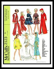 McCall's 2123 Fabric Sewing Pattern Miss Barbie Gina Midge DOLL Wardrobe Mattel