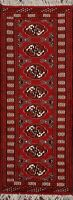 Geometric RUST Bokhara Oriental Narrow Runner Rug Wool Hand-Knotted 2'x6' Carpet