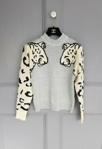 Grey Cream Black  Arty Panther  Print  Quirky Loose Knit Unique  Jumper 8 10