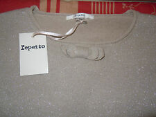 pull NEUF REPETTO  beige stage brillant noeud 8 ANS 74 EUROS