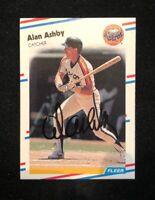 ALAN ASHBY 1988 FLEER AUTOGRAPHED SIGNED AUTO BASEBALL CARD 439