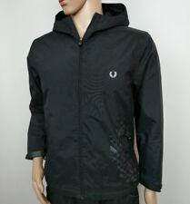 Fred Perry Jacket Black Full Zip Hooded Track Big Logo Mod Size L Youth RRP£200