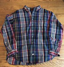 RALPH LAUREN POLO Christmas Plaid Pastel Flannel Shirt 100% Cotton XL Vintage