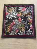 "Vintage Floral Jungle Animal Print Made In USA Bandana Scarf Square 29""x31"""