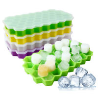 Silicone Ice Cube Tray 37 Grid DIY Pudding Jelly Maker Mould With Lid Kitchen