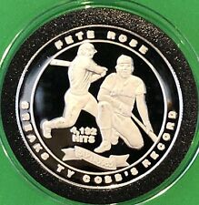 Pete Rose Breaking Ty Cobb's Record 1 Troy Oz .999 Fine Silver Round Proof Coin