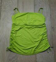 Lululemon 10 Athletic Top Lime Green Ruched Sides Drawstring Built in Bra Straps