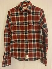 Abercrombie & Fitch A&F Men's Long Sleeve Plaid Flannel Shirt Red Blue Small