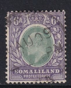 SOMALILAND PROTECTORATE EDVII SG51a - 6a green & violet - good used + CDS