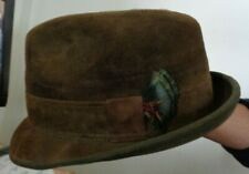 """SEARS 50's Brown Suede 1-3/4"""" Snap Brim 4-1/2"""" Crown 1-1/2"""" Band +Feathers 7-1/4"""