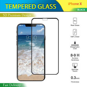 5D Full Coverage Tempered Glass Screen Guard Protector For Apple iPhone X , 10