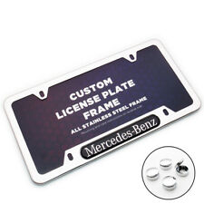 Chrome Stainless Front Rear For Mercedes-Benz Car License Plate Frame Cover Gift