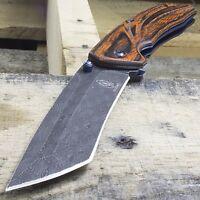 "8.75"" DAMASCUS STYLE TANTO BLADE SPRING ASSISTED FOLDING WOOD POCKET KNIFE EDC"