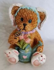 """Bear Dressed Up As Bunny Rabbit With Watering Can Figurine 3"""""""