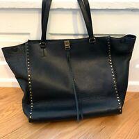 REBECCA MINKOFF Darren Large Black Pebble Leather Shoulder Tote w/Dust Bag