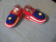 BABY Booties Shoes Sandals Crochet Star & Stripes Red White & Blue Size NB to 6M