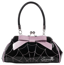 Sourpuss Floozy Web Purse Black/Pink Rockabilly Gothic Derby Spider Handbag